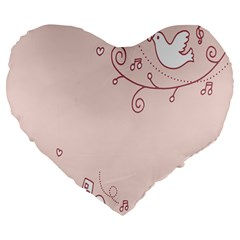 Bird City Sing Pink Notes Music Large 19  Premium Flano Heart Shape Cushions by Alisyart