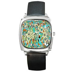 Animals Caterpillar Worm Owl Snake Leaf Flower Floral Square Metal Watch by Alisyart