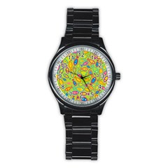 Animals Fish Green Pink Blue Green Yellow Water River Sea Stainless Steel Round Watch by Alisyart