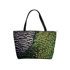 Bird Feathers Green Brown Shoulder Handbags by Alisyart