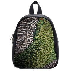 Bird Feathers Green Brown School Bags (small)  by Alisyart