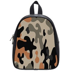Camouflage Army Disguise Grey Orange Black School Bags (small)  by Alisyart