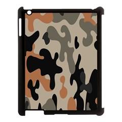 Camouflage Army Disguise Grey Orange Black Apple Ipad 3/4 Case (black) by Alisyart