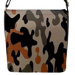 Camouflage Army Disguise Grey Orange Black Flap Messenger Bag (s) by Alisyart