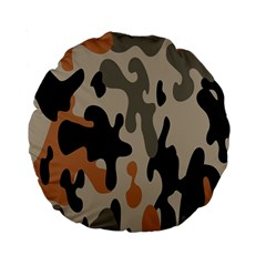 Camouflage Army Disguise Grey Orange Black Standard 15  Premium Flano Round Cushions by Alisyart