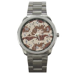 Camouflage Army Disguise Grey Brown Sport Metal Watch by Alisyart