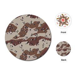 Camouflage Army Disguise Grey Brown Playing Cards (round)  by Alisyart