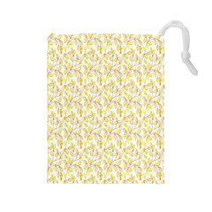 Branch Spring Texture Leaf Fruit Yellow Drawstring Pouches (large)  by Alisyart