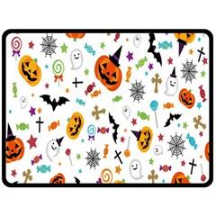 Candy Pumpkins Bat Helloween Star Hat Fleece Blanket (large)  by Alisyart