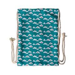Cloud Blue Sky Sea Beach Bird Drawstring Bag (small) by Alisyart