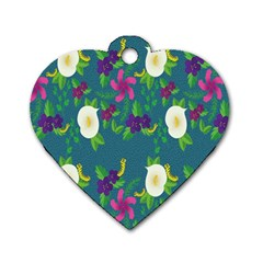 Caterpillar Flower Floral Leaf Rose White Purple Green Yellow Animals Dog Tag Heart (two Sides) by Alisyart
