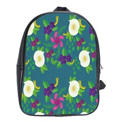 Caterpillar Flower Floral Leaf Rose White Purple Green Yellow Animals School Bags(large)  by Alisyart