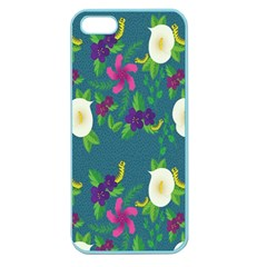 Caterpillar Flower Floral Leaf Rose White Purple Green Yellow Animals Apple Seamless Iphone 5 Case (color) by Alisyart