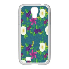 Caterpillar Flower Floral Leaf Rose White Purple Green Yellow Animals Samsung Galaxy S4 I9500/ I9505 Case (white) by Alisyart