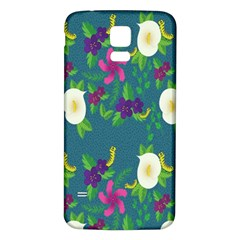 Caterpillar Flower Floral Leaf Rose White Purple Green Yellow Animals Samsung Galaxy S5 Back Case (white) by Alisyart
