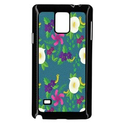 Caterpillar Flower Floral Leaf Rose White Purple Green Yellow Animals Samsung Galaxy Note 4 Case (black) by Alisyart