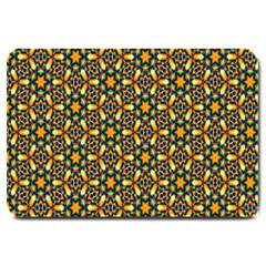 Caleidoskope Star Glass Flower Floral Color Gold Large Doormat  by Alisyart