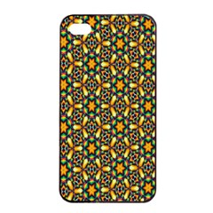 Caleidoskope Star Glass Flower Floral Color Gold Apple Iphone 4/4s Seamless Case (black)