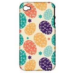 Egg Flower Floral Circle Orange Purple Blue Apple Iphone 4/4s Hardshell Case (pc+silicone) by Alisyart