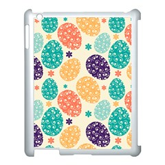 Egg Flower Floral Circle Orange Purple Blue Apple Ipad 3/4 Case (white) by Alisyart