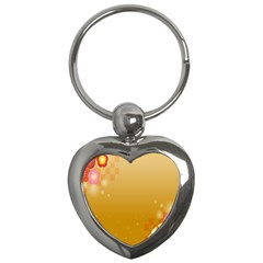 Flower Arrangements Season Floral Orange Key Chains (heart)  by Alisyart