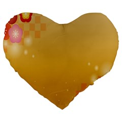 Flower Arrangements Season Floral Orange Large 19  Premium Heart Shape Cushions by Alisyart
