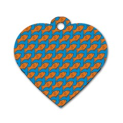 Fish Sea Beach Swim Orange Blue Dog Tag Heart (one Side) by Alisyart