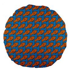 Fish Sea Beach Swim Orange Blue Large 18  Premium Flano Round Cushions by Alisyart