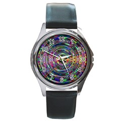 Wave Line Colorful Brush Particles Round Metal Watch