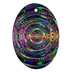 Wave Line Colorful Brush Particles Ornament (oval) by Amaryn4rt