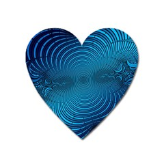 Abstract Fractal Blue Background Heart Magnet by Amaryn4rt