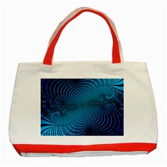 Abstract Fractal Blue Background Classic Tote Bag (red) by Amaryn4rt