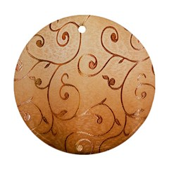 Texture Material Textile Gold Round Ornament (two Sides)