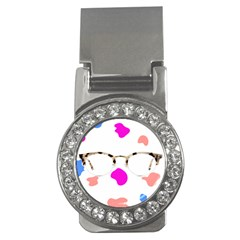 Glasses Blue Pink Brown Money Clips (CZ)  by Alisyart