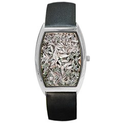 Ice Leaves Frozen Nature Barrel Style Metal Watch by Amaryn4rt