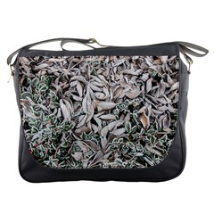 Ice Leaves Frozen Nature Messenger Bags by Amaryn4rt