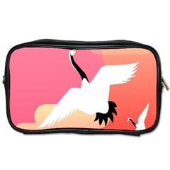 Goose Swan Pink Orange White Animals Fly Toiletries Bags 2 Side by Alisyart
