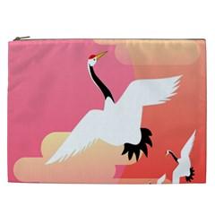 Goose Swan Pink Orange White Animals Fly Cosmetic Bag (xxl)  by Alisyart