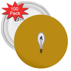 Idea Lamp White Orange 3  Buttons (100 Pack)  by Alisyart