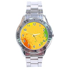 Paint Stains Spot Yellow Orange Green Stainless Steel Analogue Watch by Alisyart