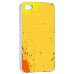 Paint Stains Spot Yellow Orange Green Apple Iphone 4/4s Seamless Case (white) by Alisyart