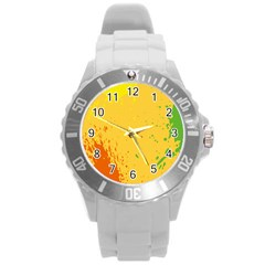 Paint Stains Spot Yellow Orange Green Round Plastic Sport Watch (l) by Alisyart