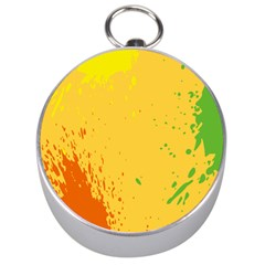 Paint Stains Spot Yellow Orange Green Silver Compasses