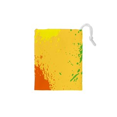 Paint Stains Spot Yellow Orange Green Drawstring Pouches (xs)  by Alisyart