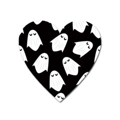 Ghost Halloween Pattern Heart Magnet by Amaryn4rt