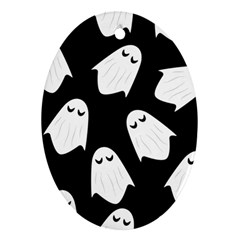 Ghost Halloween Pattern Oval Ornament (two Sides) by Amaryn4rt
