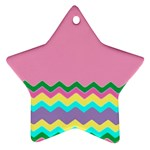 Easter Chevron Pattern Stripes Ornament (Star) Front