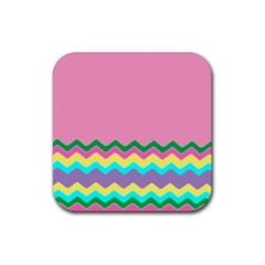 Easter Chevron Pattern Stripes Rubber Square Coaster (4 Pack)  by Amaryn4rt