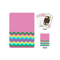 Easter Chevron Pattern Stripes Playing Cards (mini)  by Amaryn4rt