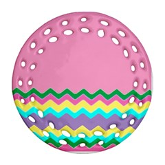 Easter Chevron Pattern Stripes Ornament (round Filigree) by Amaryn4rt